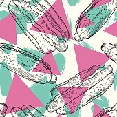 Super retro hot dog pattern in trendy colours with geometric background. Separated to layers, global colours, pattern tile in swatches, very easy to edit.