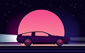 80s style sci-fi background with supercar