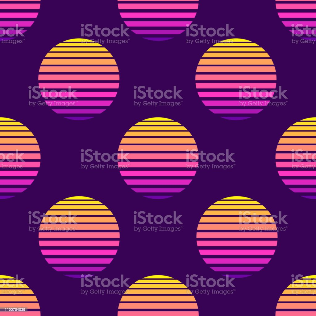 80s Style Seamless Pattern With Spheres Round Shapes