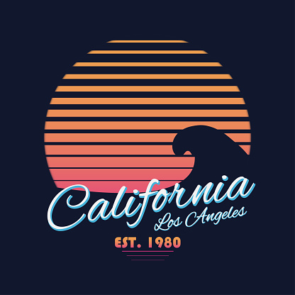 80s style vintage California typography. Retro t-shirt graphics with tropical paradise scene and wave