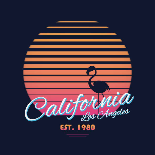 80s style vintage California typography. Retro t-shirt graphics with tropical paradise scene and flamingo silhouette vector art illustration