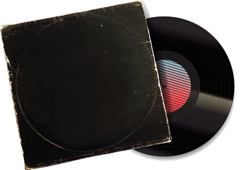 80s style Vintage worn Vinyl Record Sleeve