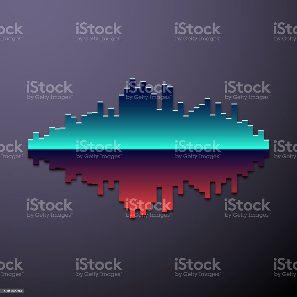 80s styled chrome sound wave vector art illustration
