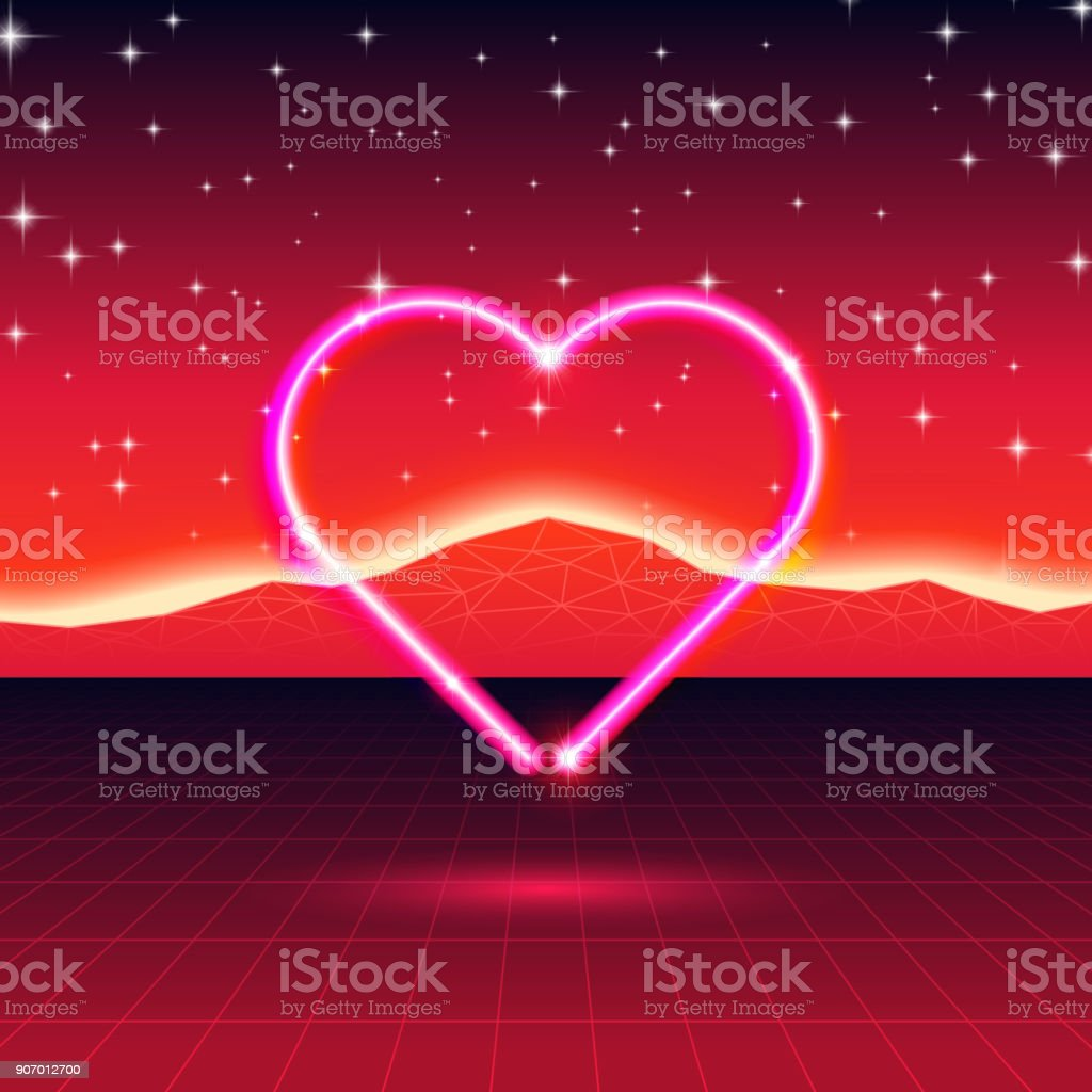 80s styled retro futuristic card with neon heart in computer world 80s styled retro futuristic card with neon heart in computer world royalty free 80s styled buycottarizona Choice Image