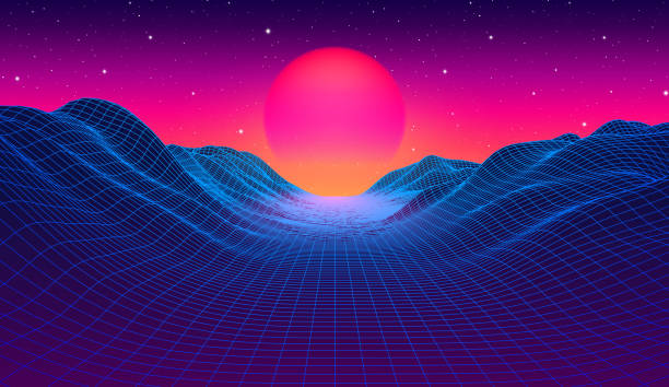 협곡 위에 푸른 그리드 산과 태양과 80 년대 신디웨이브 스타일의 풍경 - 형광색의 stock illustrations