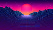 istock 80s synthwave styled landscape with blue grid mountains and sun over canyon 1253862403