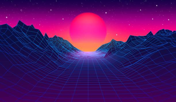 80-synthwave stylizowane krajobraz z blue grid góry i słońce nad kanionem - futurystyczny stock illustrations