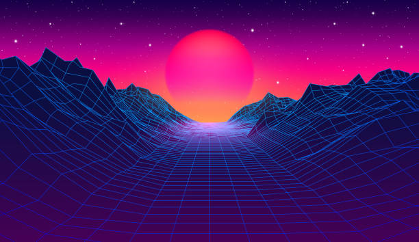 80s synthwave styled landscape with blue grid mountains and sun over canyon 80s synthwave styled landscape with blue grid mountains and sun over arcade space planet canyon futuristic stock illustrations