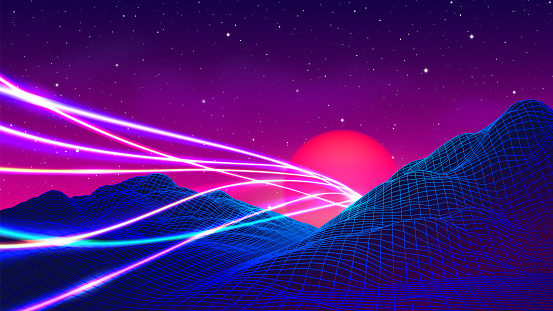 80s synthwave styled landscape with laser neon lines or traces over blue grid mountains and sun over canyon
