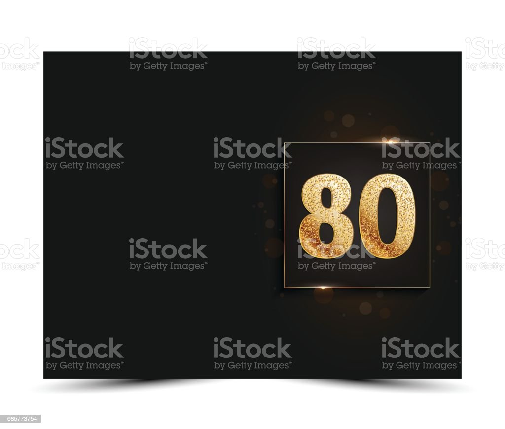 80th Anniversary Decorated Invitation Greeting Card Template Royalty Free