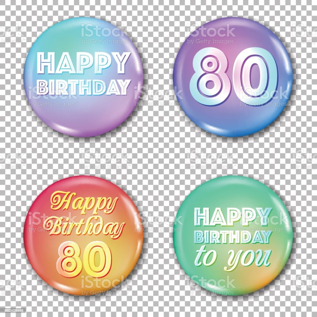 80th anniversary icons set. Happy birthday labels vector art illustration