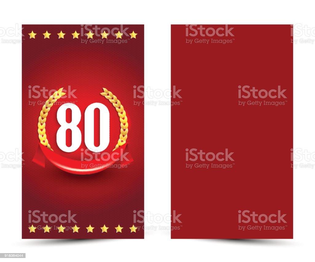 Ilustración De Plantilla De Tarjeta De Cumpleaños Decoradas 80 Invitación De Aniversario De 80 Años Y Más Vectores Libres De Derechos De Aniversario