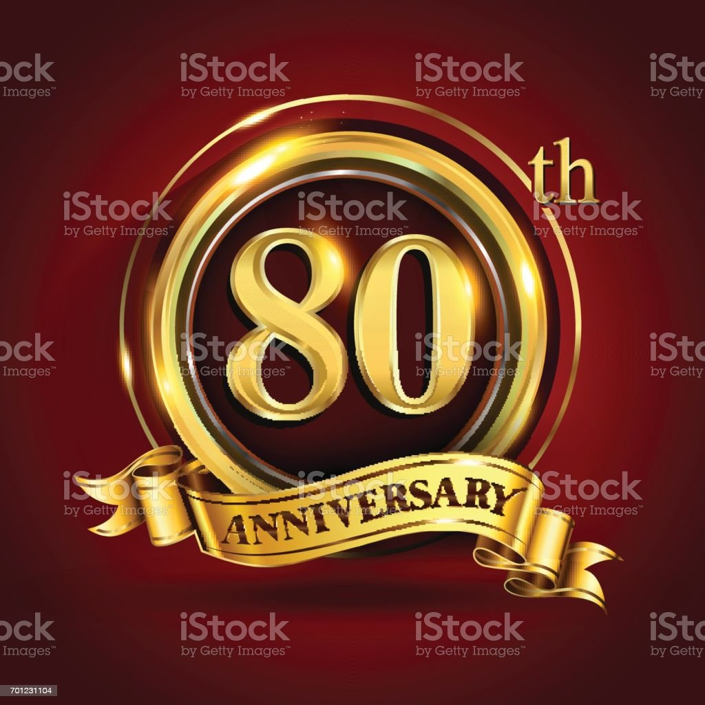 80th years anniversary logo with gold ring and golden ribbon, vector design vector art illustration