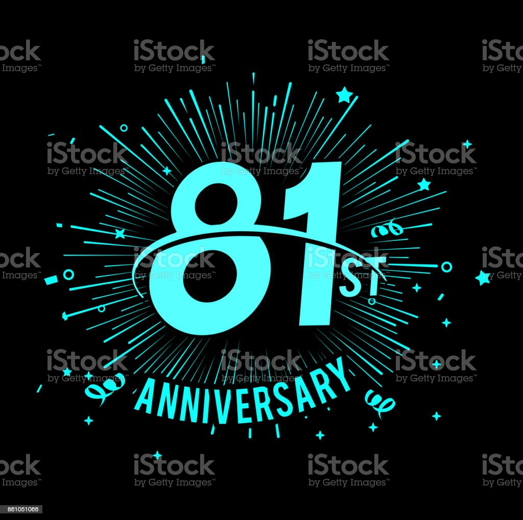 81st anniversary  with firework background. glow in the dark design concept vector art illustration