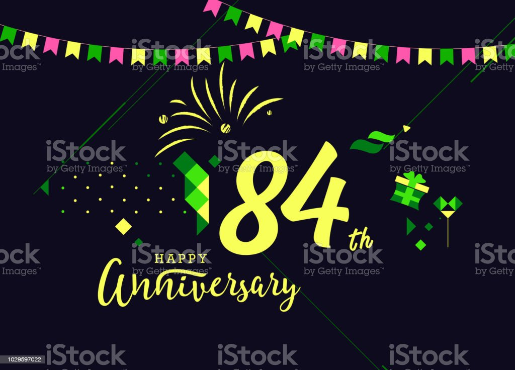 84th happy anniversary lettering text banner dark color with geometric background royalty free 84th
