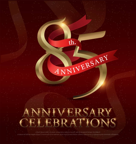 85th years anniversary celebration golden logo with red ribbon on red background. vector illustrator - oscars stock illustrations, clip art, cartoons, & icons