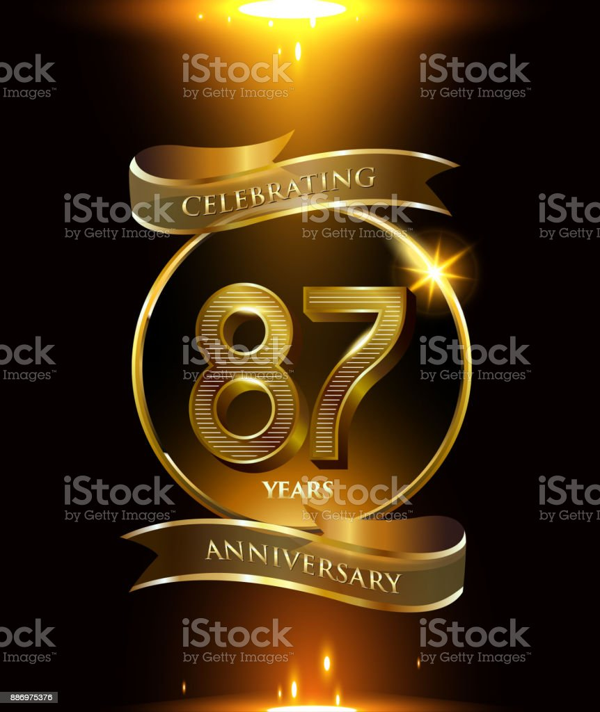 87th Years Anniversary Logo With Golden Ring And Ribbon Colored