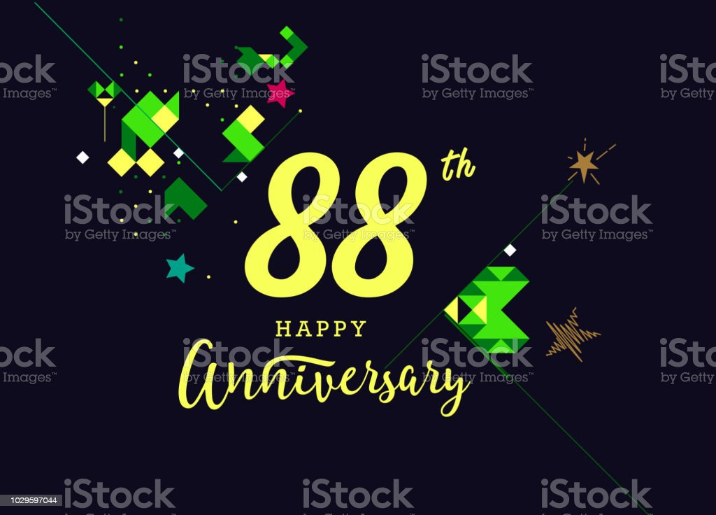 88th happy anniversary lettering text banner dark color with geometric background royalty free 88th