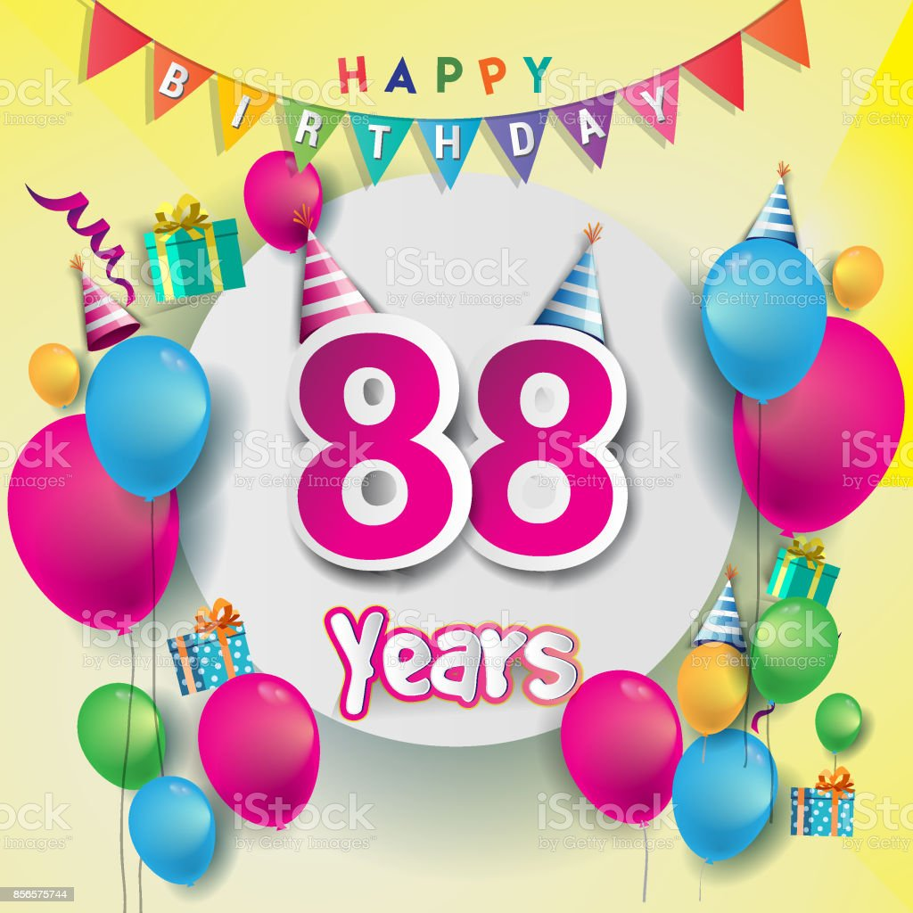 88th Years Anniversary Celebration Birthday Card Or Greeting Design With Gift Box And Balloons Colorful Vector Elements For The