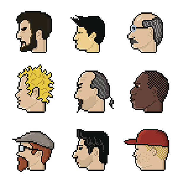 8-bit characters - old man computer silhouette stock illustrations, clip art, cartoons, & icons