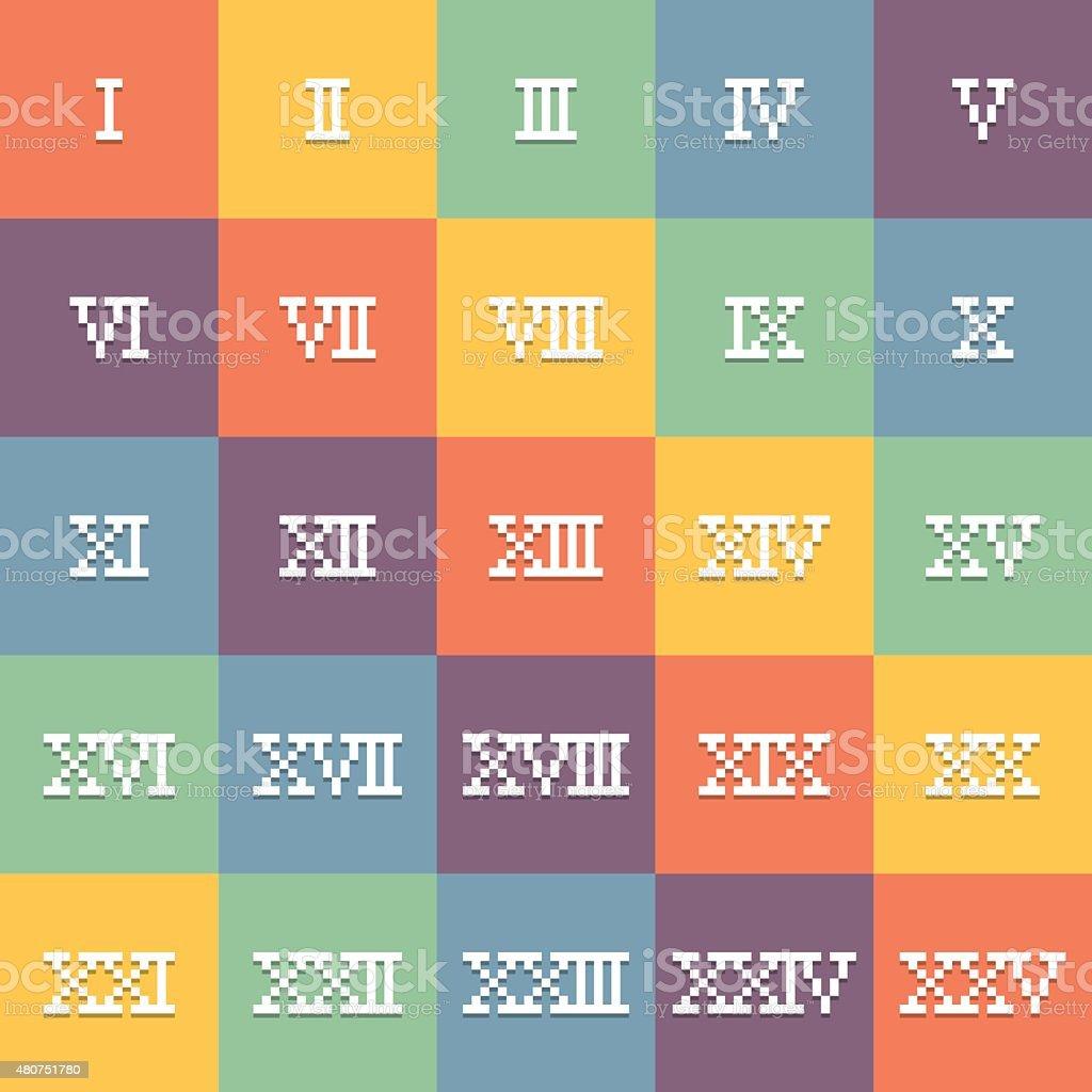 8 Bit Pixel Art Chiffres Romains La I25 Vecteur Eps10