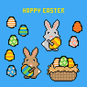 Happy Easter Vector Illustration. 8-bit Pixel Easter Icons, Square.
