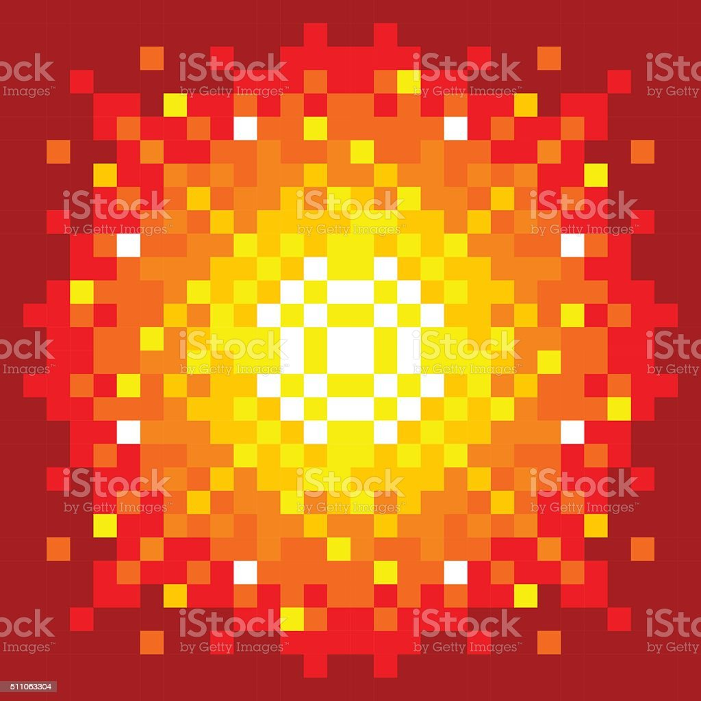 8-Bit Pixel-art Firey Explosion vector art illustration
