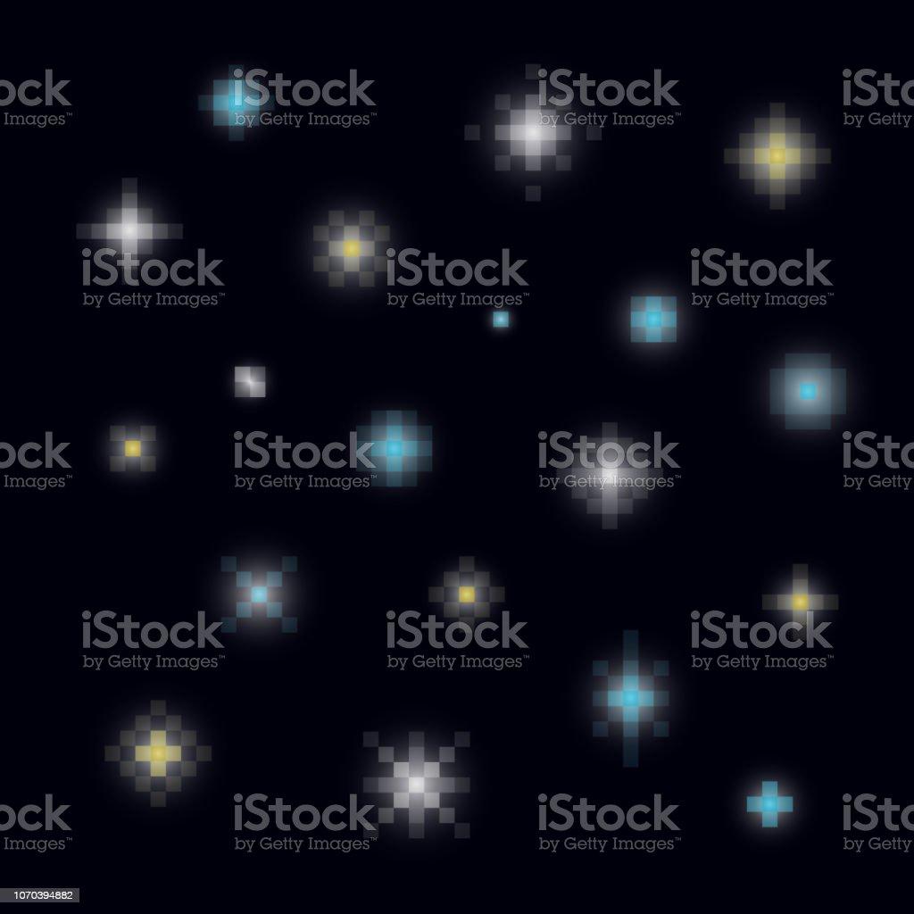 8 ビット スタイルの夜の星 ベクターアートイラスト
