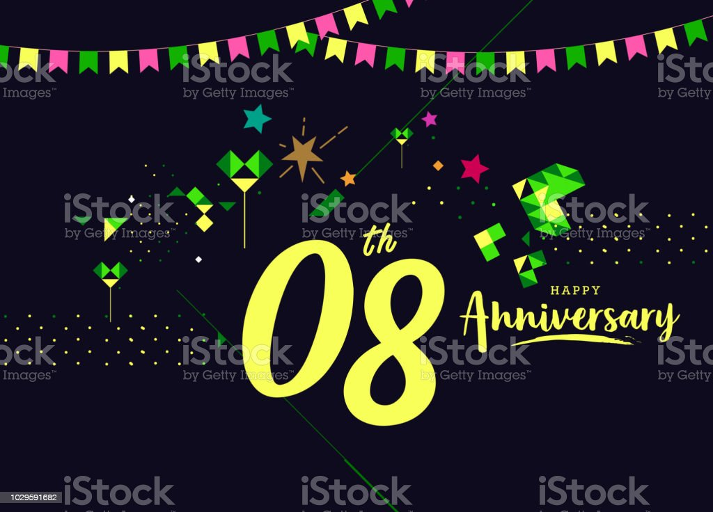 8th happy anniversary lettering text banner dark color with geometric background royalty free 8th