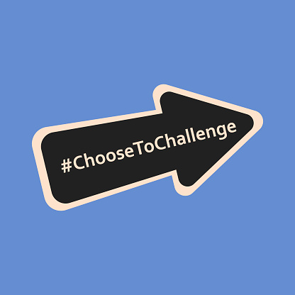 8th march. International womens day 2021 campaign theme Choose To Challenge. Vector illustration of arrow. Eps 10