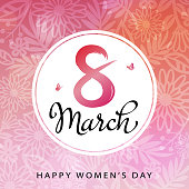 Celebrate the International Women's Day on 8th March with circle frame and flowers on the background
