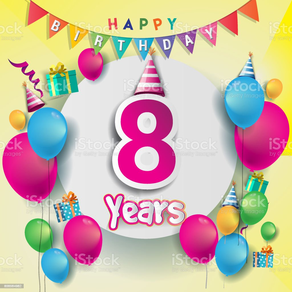 8th Years Anniversary Celebration Birthday Card Or Greeting Design With Gift Box And Balloons Colorful Vector Elements For The Party Of