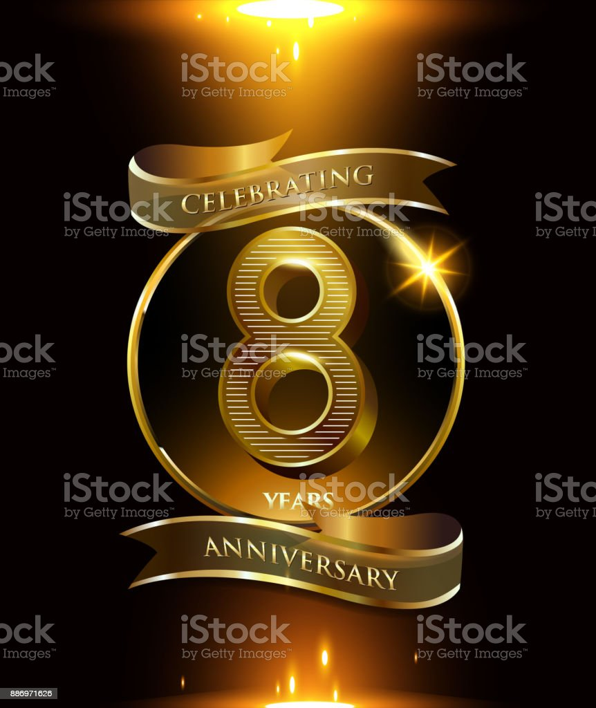 8th years anniversary logo with golden ring and ribbon colored isolated on black background, vector design for party greeting card and invitation card. celebration logotype template vector art illustration
