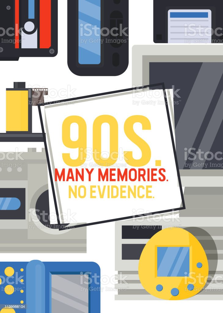 90s devices banner, poster vector illustration. Old technologies such...