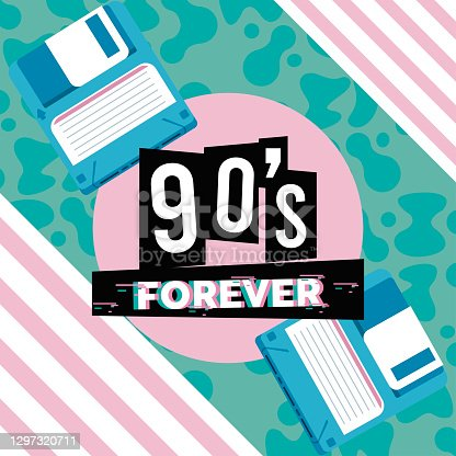istock 90s forever lettering with floppy disks in abstract background 1297320711