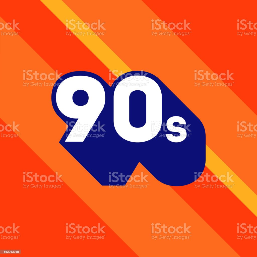 90s icon design. 1990s sign with long shadow. Number ninety. Vector element. vector art illustration