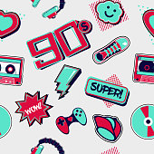 istock 90s style seamless pattern. Funky style drawing. Retro music background. Cartoon vector texture. Party backdrop. 1281032506