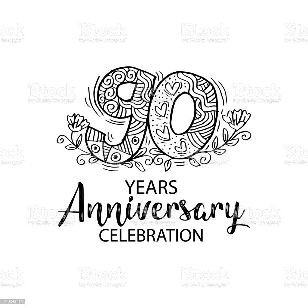 90. Jubiläum – Vektorgrafik
