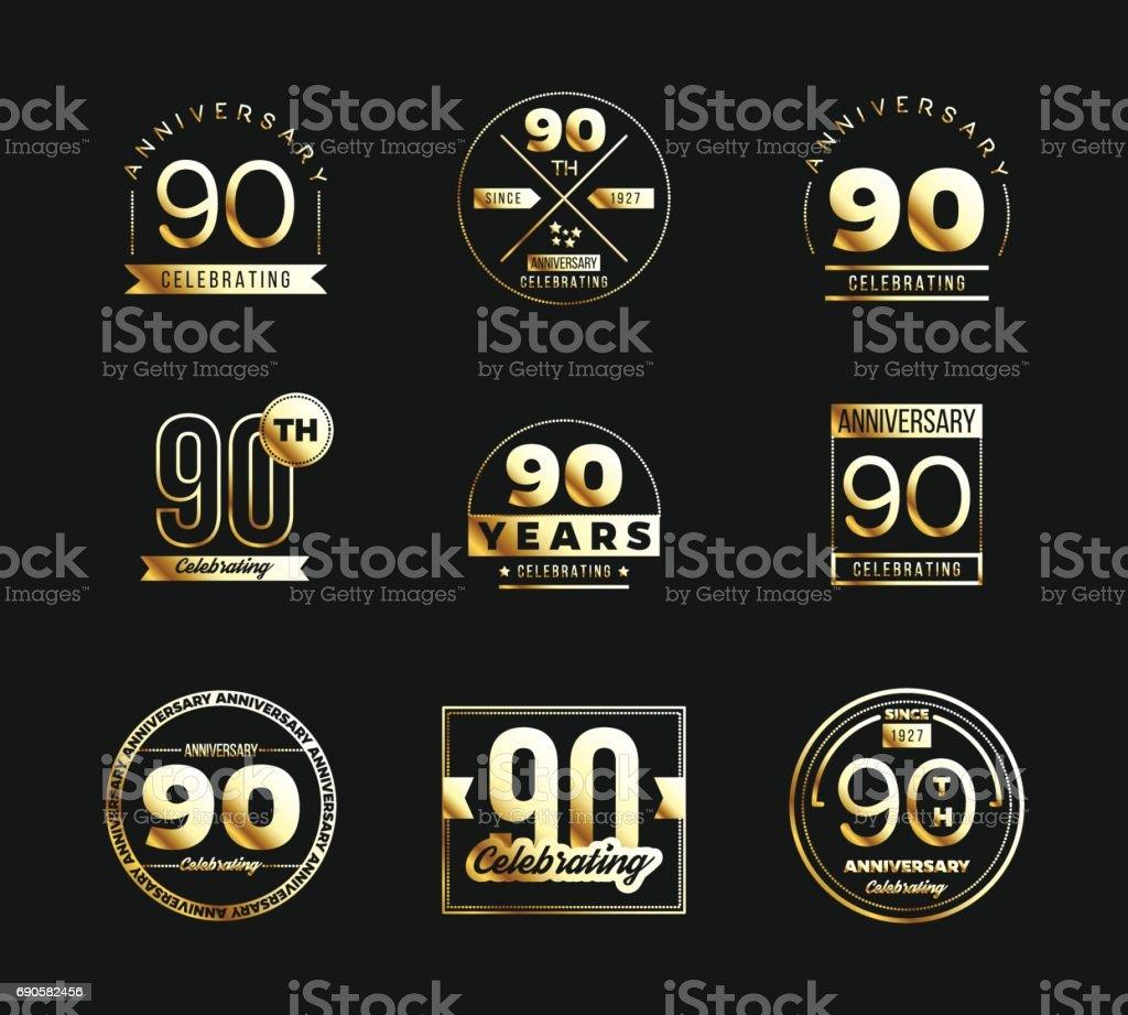 90. Jubiläum gold Symboltyp festgelegt. Jubiläums-Banner. – Vektorgrafik