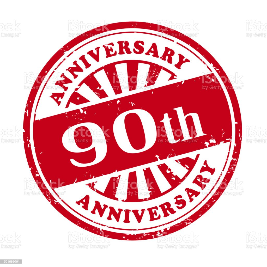 90th anniversary grunge rubber stamp royalty-free stock vector art