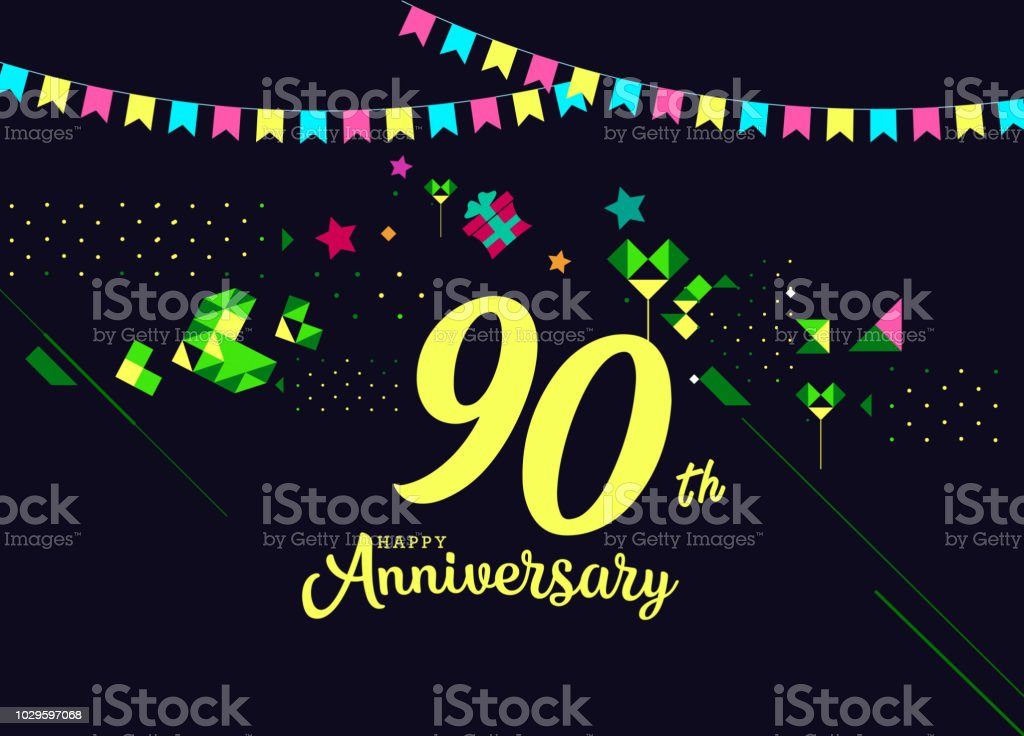 90th happy anniversary lettering text banner dark color with geometric background royalty free 90th