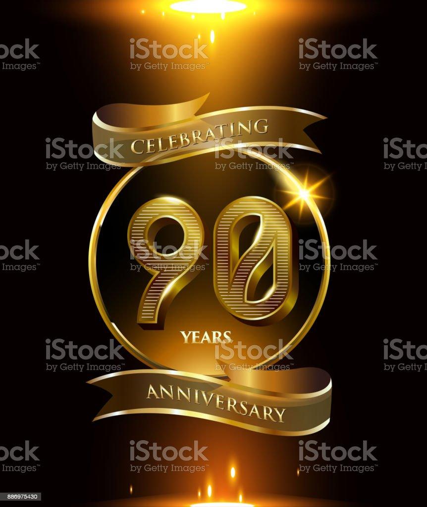 Ilustración De 90 Años Logo Aniversario Con Anillo De Oro Y