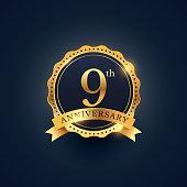 9th anniversary celebration badge label in golden color