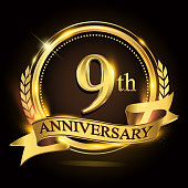 9th golden anniversary icon,  with ring and ribbon, laurel wreath vector design.