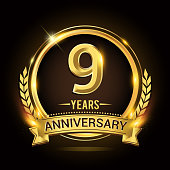 9th golden anniversary icon, with shiny ring and gold ribbon, laurel wreath isolated on black background, vector design