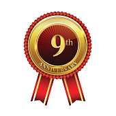 9th years anniversary golden badge with red ribbons isolated on white background, vector design for greeting card, banner and invitation card.