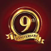 9th years anniversary logo with gold ring and golden ribbon, vector design