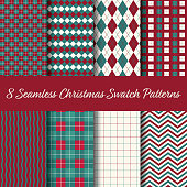 Christmas Seamless Swatch Pattern Vector. Select color theme and pattern from swatch panel in Illustrator. Merry Christmas and Happy New Year!