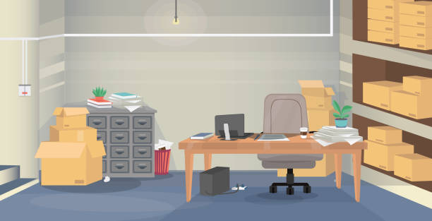 a bad example of a workplace - basement stock illustrations