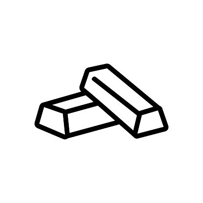 a bar of gold icon vector. Isolated contour symbol illustration